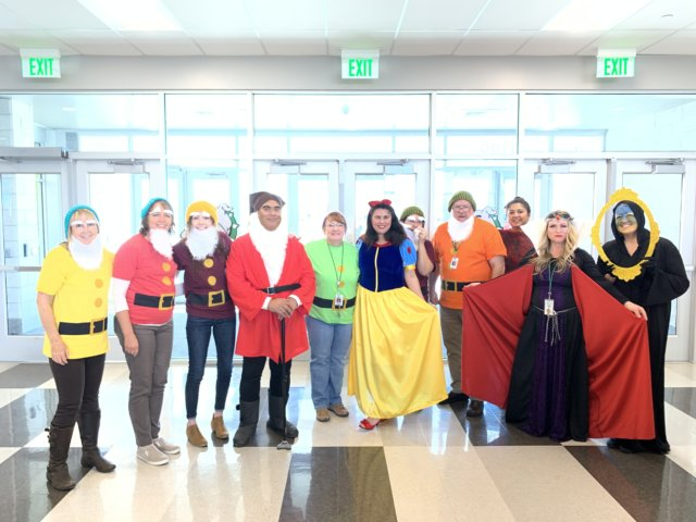 Counseling Center Staff at Halloween: Snow White and the Seven Dwarfs